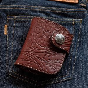 レッドムーン 財布  REDMOON ショートウォレット HR-01Z-FE フローラル エンボス加工 サドルレザー|rmismfukuoka