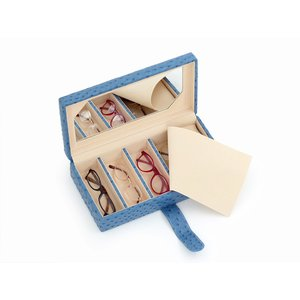*新商品* メガネケース 6本収納 ブルー オーストリッチ調 レディース おしゃれ|rmjapan