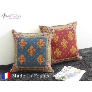 ART de LYS クッションカバー 7583R / Lys flower, red background フランス製 rmjapan