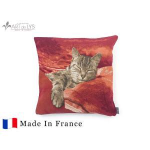 ART de LYS クッションカバー 8697R / Sleeping Cat,red background フランス製 rmjapan