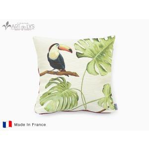 ART de LYS クッションカバー 5516B / Toucan with orange beak, jungle white background フランス製 rmjapan