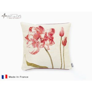 ART de LYS クッションカバー 5401B / Three red tulips with a white background フランス製 rmjapan