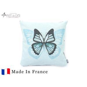 ART de LYS クッションカバー 5527T / One butterfly, blue background フランス製 rmjapan
