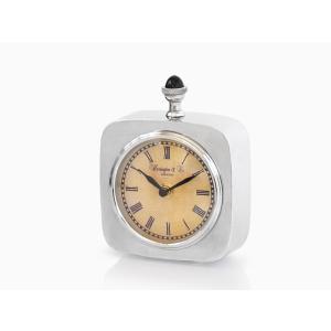 メタルテーブルクロック スクエア アンティーク調 アナログ 置き時計|rmjapan