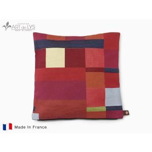 ART de LYS クッションカバー Geometrical red with black stripe rmjapan