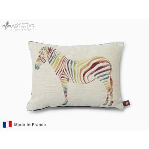 ART de LYS クッションカバー colourful zebra ホワイト クッション付 rmjapan