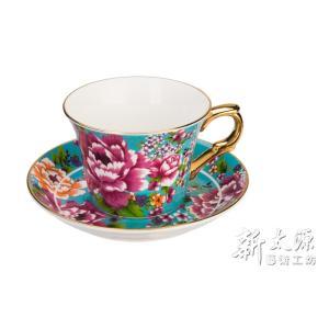 《新太源》(台湾花布柄)新牡丹珈琲カップセット -金- 藍(ブルー) 《台湾 お土産》|rnet-servic