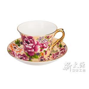 《新太源》(台湾花布柄)新牡丹珈琲カップセット -金- (クリーム) 《台湾 お土産》|rnet-servic
