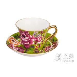 《新太源》(台湾花布柄)新牡丹珈琲カップセット -金- (グリーン) 《台湾 お土産》|rnet-servic