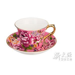 《新太源》(台湾花布柄)新牡丹珈琲カップセット -金- (ピンク) 《台湾 お土産》|rnet-servic