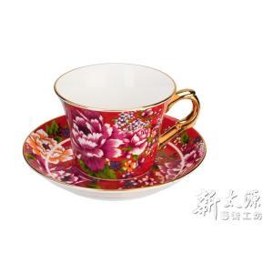 《新太源》(台湾花布柄)新牡丹珈琲カップセット -金- (レッド) 《台湾 お土産》|rnet-servic