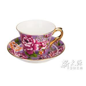 《新太源》(台湾花布柄)新牡丹珈琲カップセット -金- (パープル) 《台湾 お土産》|rnet-servic