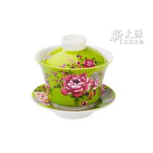 《新太源》(台湾花布柄)紅花功夫杯−新牡丹湯飲み茶碗 -金- (緑) 《台湾 お土産》 rnet-servic
