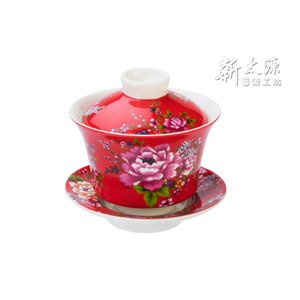 《新太源》(台湾花布柄)紅花功夫杯−新牡丹湯飲み茶碗 -金- (赤) 《台湾 お土産》 rnet-servic