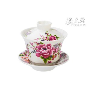 《新太源》(台湾花布柄)紅花功夫杯−新牡丹湯飲み茶碗 -金- (白) 《台湾 お土産》 rnet-servic
