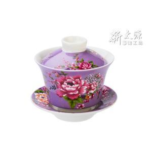 《新太源》(台湾花布柄)紅花功夫杯−新牡丹湯飲み茶碗 -金- (紫) 《台湾 お土産》|rnet-servic
