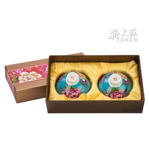 《新太源》(台湾花布柄)紅花雙入響杯 (紅花茶碗・ペアリングセット-青) 《台湾 お土産》|rnet-servic