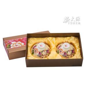 《新太源》(台湾花布柄)紅花雙入響杯 (紅花茶碗・ペアリングセット-乳白) 《台湾 お土産》|rnet-servic