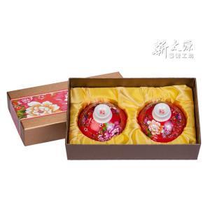 《新太源》(台湾花布柄)紅花雙入響杯 (紅花茶碗・ペアリングセット-赤) 《台湾 お土産》|rnet-servic