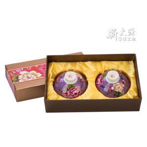 《新太源》(台湾花布柄)紅花雙入響杯 (紅花茶碗・ペアリングセット-紫) 《台湾 お土産》|rnet-servic