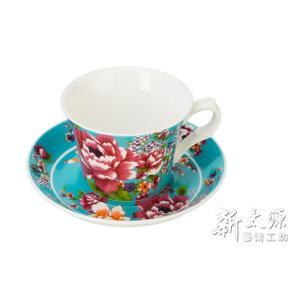 《新太源》(台湾花布柄)新牡丹珈琲カップセット - 藍(ブルー) 《台湾 お土産》|rnet-servic