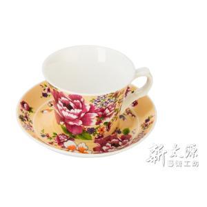 《新太源》(台湾花布柄)新牡丹珈琲カップセット - (クリーム) 《台湾 お土産》|rnet-servic
