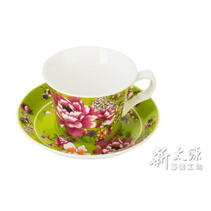 《新太源》(台湾花布柄)新牡丹珈琲カップセット -(グリーン) 《台湾 お土産》|rnet-servic