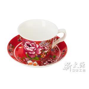 《新太源》(台湾花布柄)新牡丹珈琲カップセット - (レッド) 《台湾 お土産》|rnet-servic