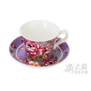 《新太源》(台湾花布柄)新牡丹珈琲カップセット - (パープル) 《台湾 お土産》|rnet-servic
