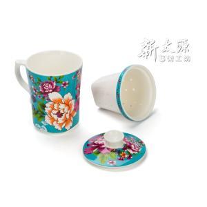 《新太源》(台湾花布柄)紅花三件杯單入 (紅花シングルカップ-茶こし付-青) 《台湾 お土産》|rnet-servic