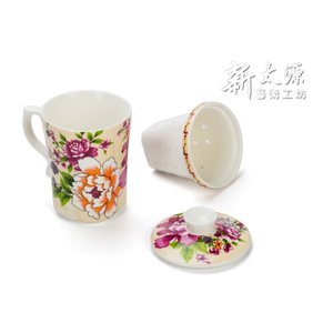《新太源》(台湾花布柄)紅花三件杯單入 (紅花シングルカップ-茶こし付-乳白) 《台湾 お土産》|rnet-servic