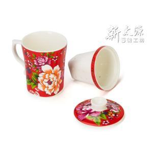 《新太源》(台湾花布柄)紅花三件杯單入 (紅花シングルカップ-茶こし付-赤) 《台湾 お土産》|rnet-servic