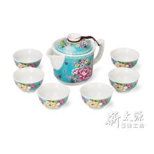 《新太源》(台湾花布柄)紅花一壺六杯禮盒 (紅花シックスカップフラワーポットギフト-青) 《台湾 お土産》 rnet-servic