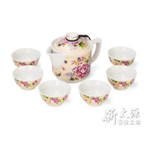 《新太源》(台湾花布柄)紅花一壺六杯禮盒 (紅花シックスカップフラワーポットギフト-乳白) 《台湾 お土産》|rnet-servic