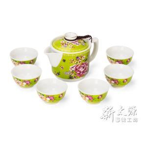 《新太源》(台湾花布柄)紅花一壺六杯禮盒 (紅花シックスカップフラワーポットギフト-緑) 《台湾 お土産》|rnet-servic