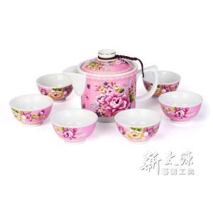 《新太源》(台湾花布柄)紅花一壺六杯禮盒 (紅花シックスカップフラワーポットギフト-桃色) 《台湾 お土産》|rnet-servic
