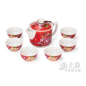 《新太源》(台湾花布柄)紅花一壺六杯禮盒 (紅花シックスカップフラワーポットギフト-赤) 《台湾 お土産》|rnet-servic