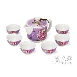 《新太源》(台湾花布柄)紅花一壺六杯禮盒 (紅花シックスカップフラワーポットギフト-紫) 《台湾 お土産》|rnet-servic