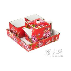 《新太源》(台湾花布柄)紅花方印壺組 (紅花パーティーポットセット-赤) 《台湾 お土産》|rnet-servic