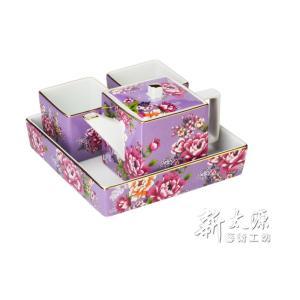 《新太源》(台湾花布柄)紅花方印壺組 (紅花パーティーポットセット-紫) 《台湾 お土産》|rnet-servic