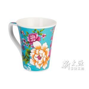 《新太源》(台湾花布柄)紅花花茶杯 (紅花フラワーカップ-青) 《台湾 お土産》|rnet-servic