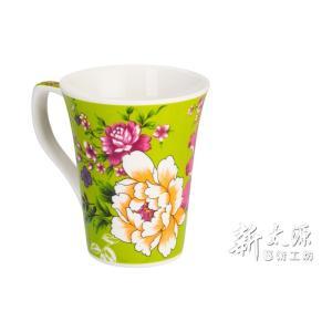 《新太源》(台湾花布柄)紅花花茶杯 (紅花フラワーカップ-緑) 《台湾 お土産》|rnet-servic