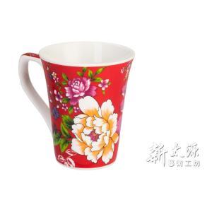 《新太源》(台湾花布柄)紅花花茶杯 (紅花フラワーカップ-赤) 《台湾 お土産》|rnet-servic