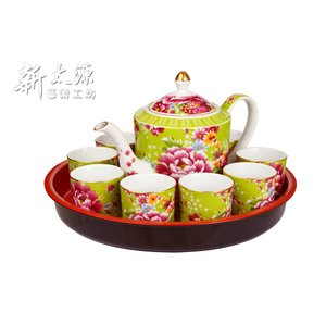《新太源》(台湾花布柄)花開富貴十全十美禮盒 (ブルームリッチパーフェクトギフトセット-緑) 《台湾 お土産》|rnet-servic