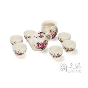 《新太源》(台湾花布柄)紅花八件茶具禮盒組 (紅花パーティーギフトセット) 《台湾 お土産》 rnet-servic