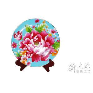 《新太源》(台湾花布柄)紅花展示盤 (ベニハナ大皿-青-10寸) 《台湾 お土産》|rnet-servic