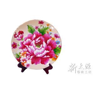 《新太源》(台湾花布柄)紅花展示盤 (ベニハナ大皿-乳白-10寸) 《台湾 お土産》|rnet-servic