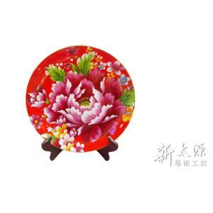 《新太源》(台湾花布柄)紅花展示盤 (ベニハナ大皿-赤-10寸) 《台湾 お土産》|rnet-servic