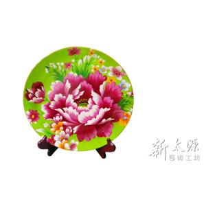 《新太源》(台湾花布柄)紅花展示盤 (ベニハナ大皿-緑-12寸) 《台湾 お土産》|rnet-servic