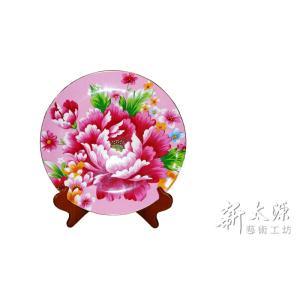 《新太源》(台湾花布柄)紅花展示盤 (ベニハナ大皿-桃色-12寸) 《台湾 お土産》|rnet-servic